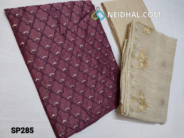 CODE SP285 : Designer Light Purple Silk cotton unstitched Salwar material(Thin Shiny fabric, requires lining) with Heavy thread and sequins work on front side, plain back, Beige cotton bottom, Beige Kora short width dupatta with thread and zari work