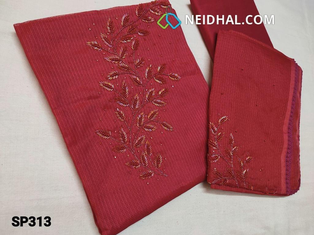 CODE SP313 : Dark Pink Kota Silk Cotton Unstitched Salwar material(thin, Coarse, netted fabric, requires lining) with Bead and cut bead work on yoke, Silk Cotton bottom, Kota Silk cotton dupatta with bead and cut bead work on dupatta with lace taping