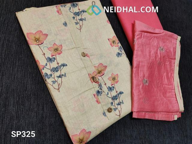 CODE SP325 : Beige Soft Cotton unstitched Salwar material(Very thin fabric requries lining) with floral prints and simple yoke with buttons, Pink cotton bottom, Pink Soft Silk cotton short width dupatta with sequins work all over