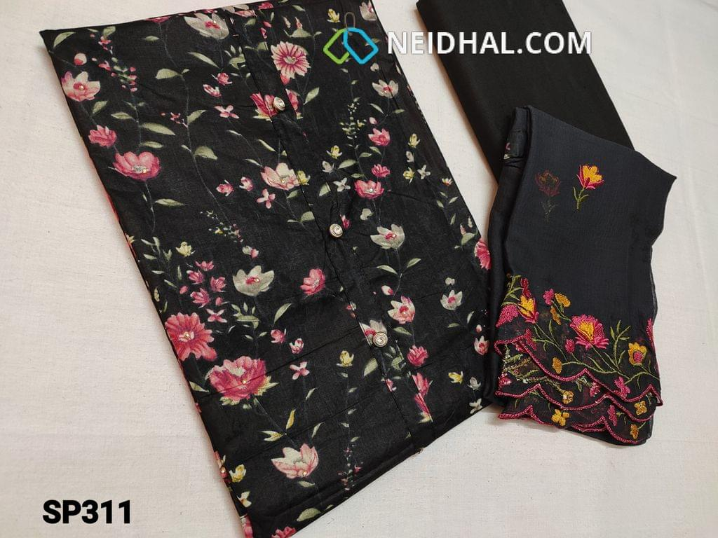 CODE SP311 : Floral Printed Black Satin cotton unstitched Salwar material(requires lining), Black Cotton bottom, Black Chiffon dupatta with heavy thread embroidery work.