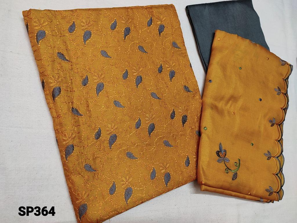 CODE SP364 :  Sober Fenu Greek Yellow Silk cotton unstitched Salwar material(thin fabric requires lining) with thread work on yoke, Grey cotton bottom, Silk cotton Short width dupatta with embroidery and  cut work on tapings
