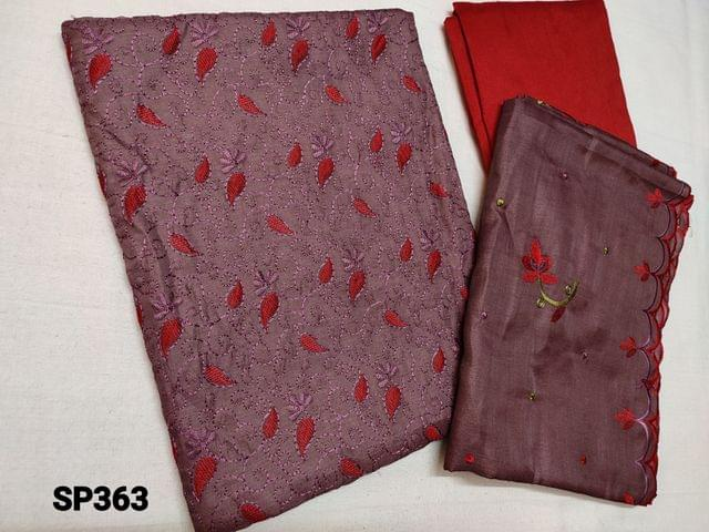 CODE SP363 :  Sober Purple Silk cotton unstitched Salwar material(thin fabric requires lining) with thread work on yoke, Red cotton bottom, Silk cotton Short width dupatta with embroidery and  cut work on tapings