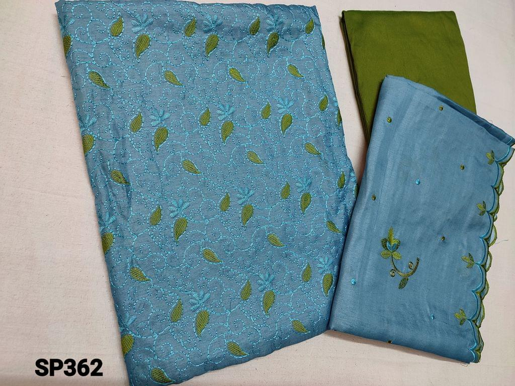 CODE SP362 :  Sober Blue Silk cotton unstitched Salwar material(thin fabric requires lining) with thread work on yoke, Green cotton bottom, Silk cotton Short width dupatta with embroidery and  cut work on tapings