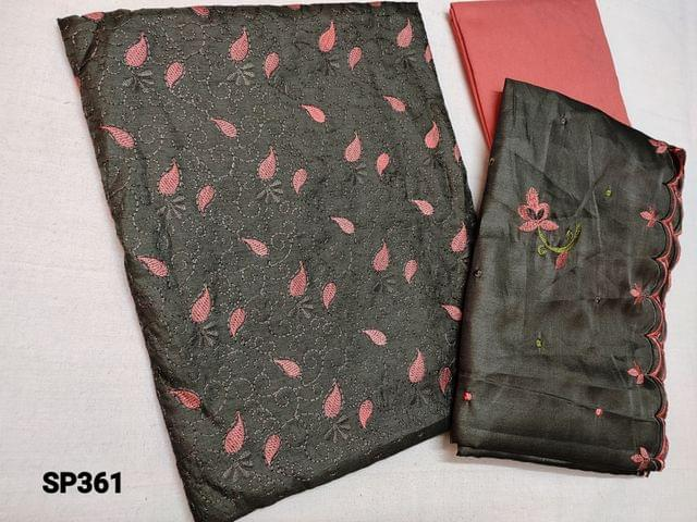 CODE SP361 :  Sober Grey Silk cotton unstitched Salwar material(thin fabric requires lining) with thread work on yoke, Pink cotton bottom, Silk cotton Short width dupatta with embroidery and  cut work on tapings