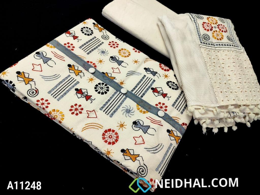 CODE A11248 : Premium Half White pure Cotton unstitched salwar material(requires lining) with heavy embroidery work on front side, plain back side.  half white cotton bottom, patch and netted dupatta with tapings