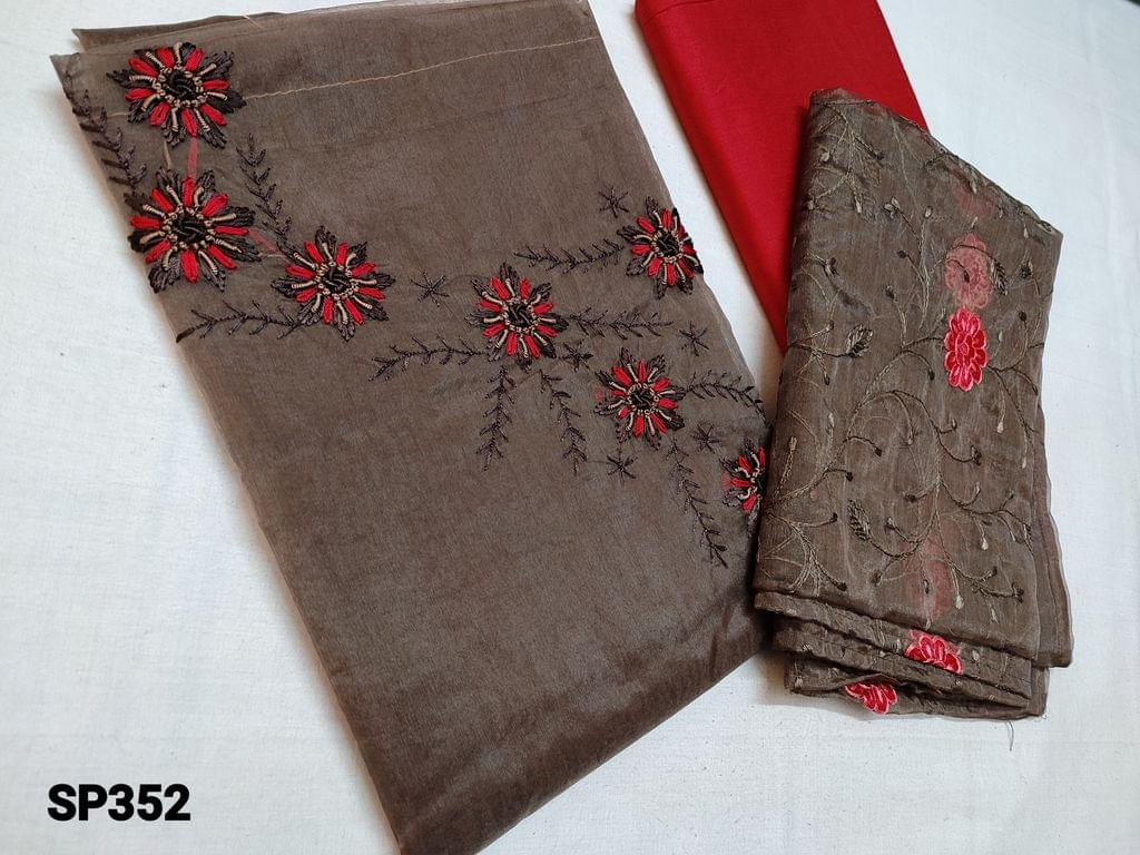 CODE SP352 : Designer Brown Organza Unstitched Salwar material(thin fabric requires lining) with Heavy thread embroidery, Red Silk Cotton bottom, Organza dupatta with embroidery work