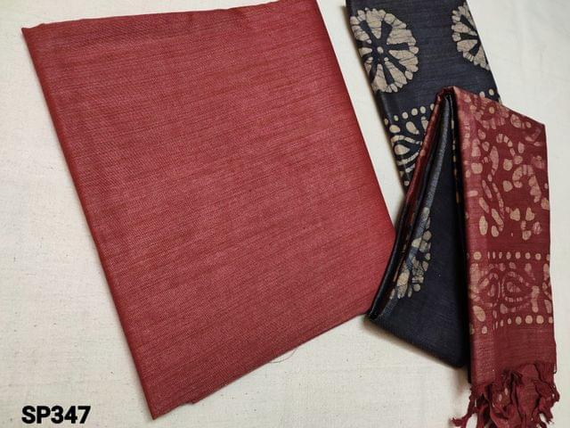 CODE SP347 : Sober Pink Bhagalpuri Silk cotton unstitched Salwar material(thin fabric requires lining) Sober Blue Batik dyed Bhagalpuri Jute silk cotton bottom, Batik Dyed Bhagalpuri Jute silk cotton dupatta with tassels(Taping needs to be stitched)