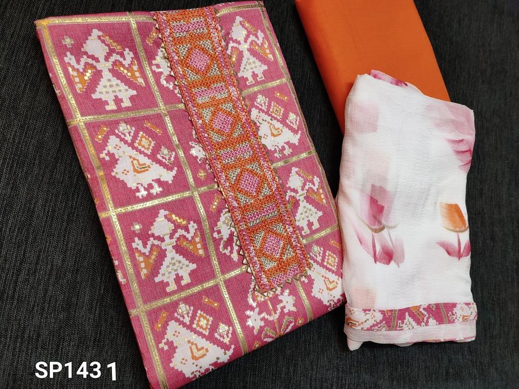 CODE SP1431 : Premium Pink Patola printed Rayon Unstitched Salwar material(flowy fabric) Heavy embroidery work on yoke patch, Orange Cotton bottom, colorful brush paint work on chiffon dupatta with taping