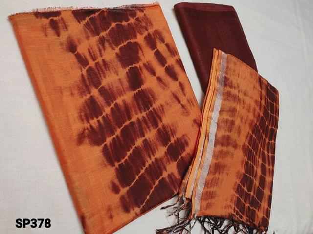 CODE SP378 : Original Shibori dyed Orange Bhagalpuri silk cotton unstitched Salwar material(textured fabric requires lining), Maroon Shibori Dyed Bhagalpuri silk cotton bottom, Original shibori dyed Bhagalpuri silk cotton dupatta with Silver zari taping and  tassels (Shiboris are hand made hence there will be stains and inconsistency in prints, these cannot be considered as damage)