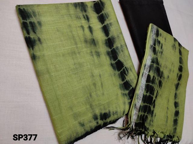 CODE SP377 : Original Shibori dyed Green Bhagalpuri silk cotton unstitched Salwar material(textured fabric requires lining), Black Shibori Dyed Bhagalpuri silk cotton bottom, Original shibori dyed Bhagalpuri silk cotton dupatta with Silver zari taping and  tassels (Shiboris are hand made hence there will be stains and inconsistency in prints, these cannot be considered as damage)
