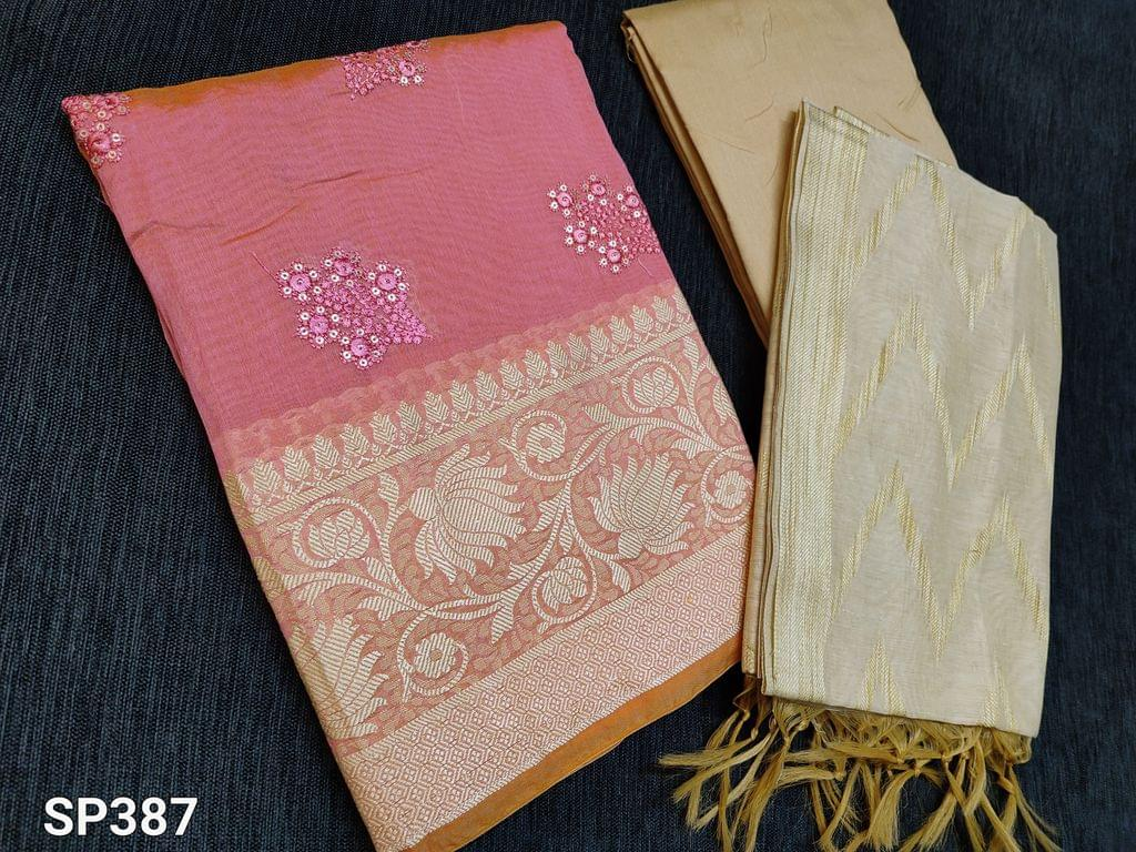 CODE SP387 : Pink Silk Cotton unstitched Salwar material(thin Fabric, requires lining) with Thread and sequins work on front side, thread weaving pattern on daman, Plain back Beige Silk Cotton bottom Beige silk cotton dupatta with weaving patterns