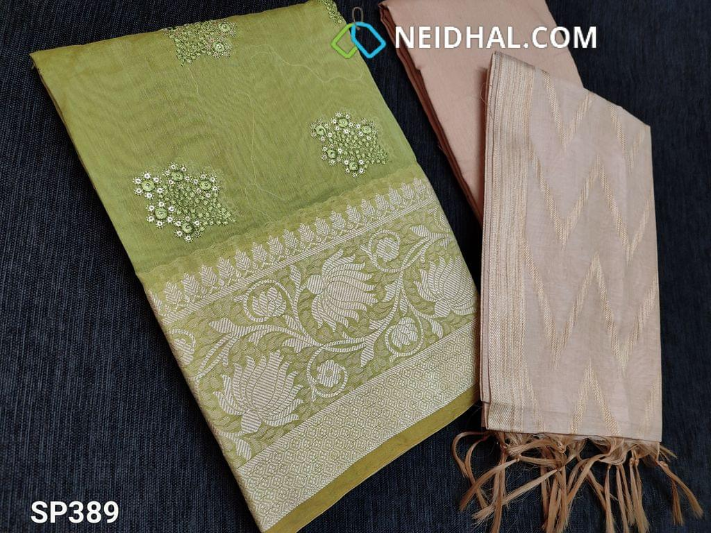 CODE SP389 : Green Silk Cotton unstitched Salwar material(thin Fabric, requires lining) with Thread and sequins work on front side, thread weaving pattern on daman, Plain back Beige Silk Cotton bottom Beige silk cotton dupatta with weaving patterns