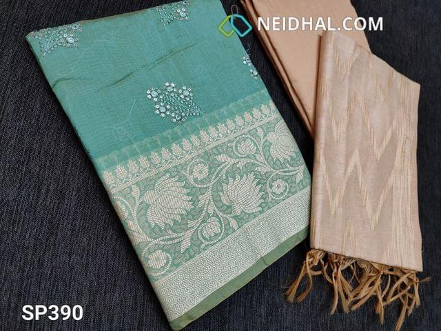 CODE SP390 : Pastel Blue Silk Cotton unstitched Salwar material(thin Fabric, requires lining) with Thread and sequins work on front side, thread weaving pattern on daman, Plain back Beige Silk Cotton bottom Beige silk cotton dupatta with weaving patterns