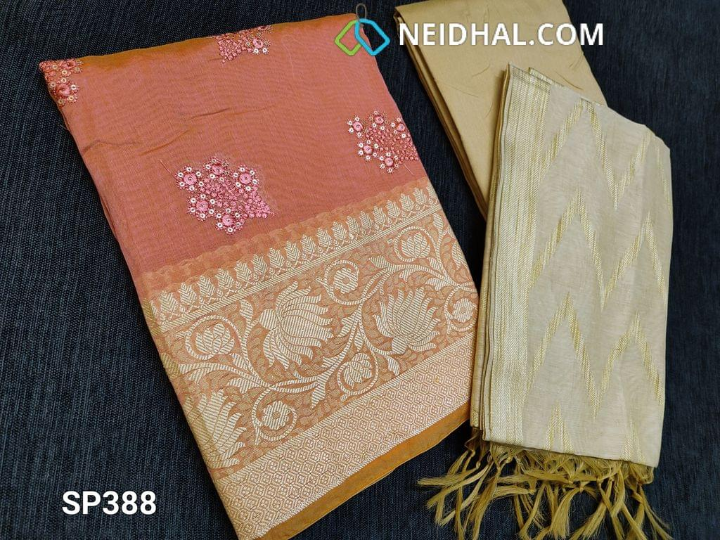 CODE SP388 : Peach Silk Cotton unstitched Salwar material(thin Fabric, requires lining) with Thread and sequins work on front side, thread weaving pattern on daman, Plain back Beige Silk Cotton bottom Beige silk cotton dupatta with weaving patterns