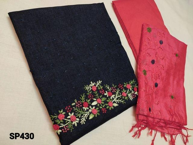 CODE SP430 : Designer Dark Navy Blue Silk Cotton unstitched salwar material(coarse fabric, requires lining) with Heavy thread Embroidery work on yoke, Peachish Pink Silk cotton bottom, Peachish Pink Soft Silk Cotton dupatta with Heavy embroidery work