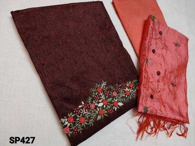 CODE SP427 : Designer Brown Silk Cotton unstitched salwar material(coarse fabric, requires lining) with Heavy thread Embroidery work on yoke, Peachish Pink Silk cotton bottom, Peachish Pink Soft Silk Cotton dupatta with Heavy embroidery work