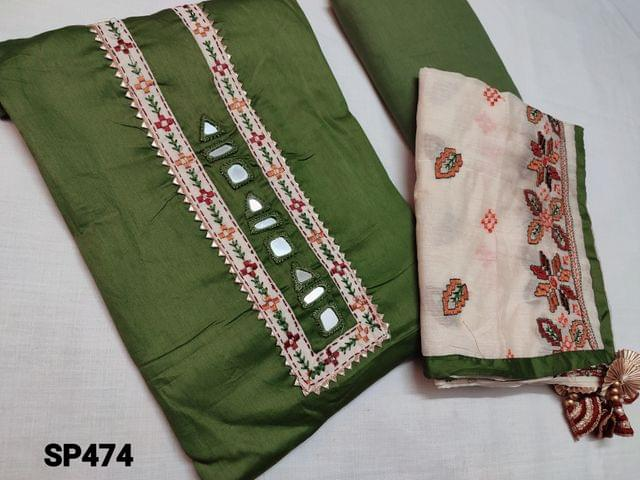 CODE SP474 : Designer Green Satin Cotton unstitched Salwar material with real mirror work and thread embroidery work on yoke, Green cotton bottom, Beige Silk cotton soft width dupatta with heavy thread work and taping