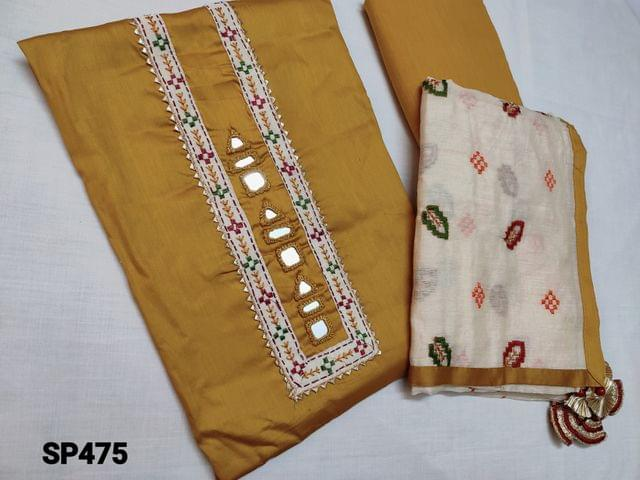 CODE SP475 : Designer Fenu Greek Yellow Satin Cotton unstitched Salwar material with real mirror work and thread embroidery work on yoke, Yellow cotton bottom, Beige Silk cotton soft width dupatta with heavy thread work and taping