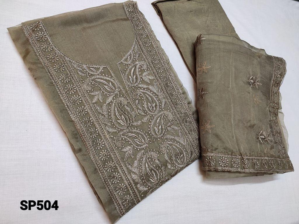 CODE SP504 : Dark Olive Green Organza Unstitched Salwar material(thin fabric requires lining) with Heavy thread embroidery work on top, soft Santoon bottom, Organza dupatta with embroidery work