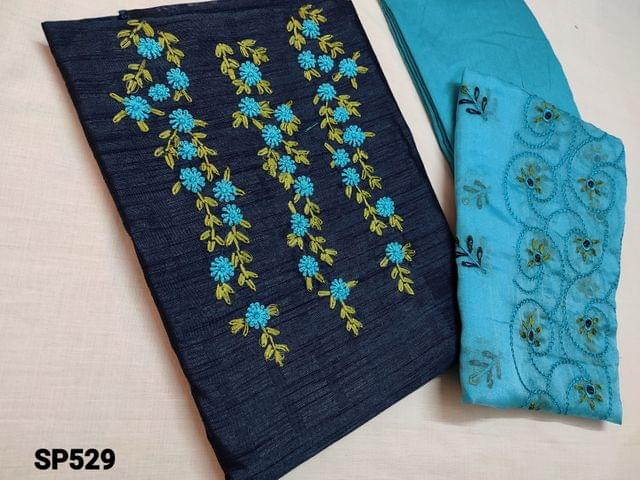 CODE SP529 : Designer Navy Blue Jaquard Silk Cotton unstitched salwar material(coarse fabric, requires lining) with Thread Embroidery work and pearl bead work  on yoke, Blue santoon or silk cotton bottom, embroidery work on Organza dupatta (TAPING NEEDS TO NE STITCHED)