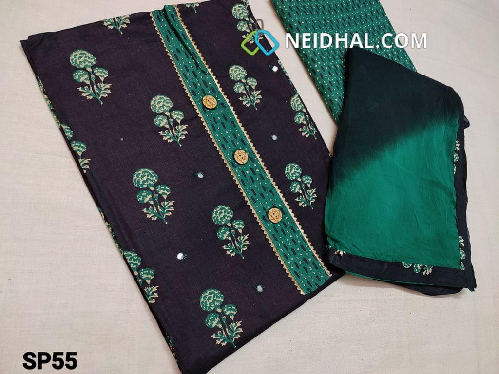 CODE  SP55 : Printed Blue Cotton unstitched Salwar material(thin fabric requires lining) with simple yoke, turquoise Green cotton bottom, dual color chiffon dupatta with tapings