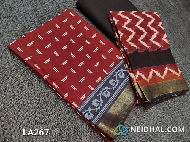 CODE LA267 : Block Printed Red Cotton Unstitched salwar material(there might be variations in print alignment, density due to manual work) , daman patch,  Black Cotton Bottom, Block printed (there might be variations in print alignment, density due to manual work) cotton dupatta.(requires taping)