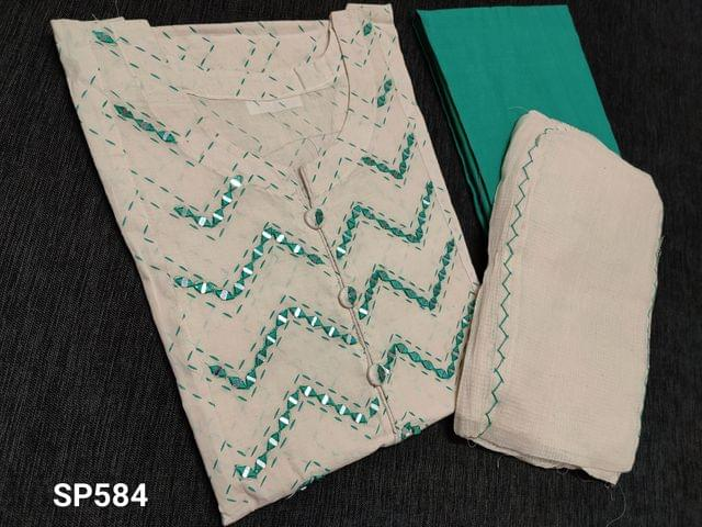CODE SP584 : Block Printed Half white Cotton Semi Stitched salwar material(thin fabric requires lining can be stitched up to L Size) with Real Mirror work on yoke, 3/4 sleeves with lace tapings, Green Cotton bottom, Kota short width dupatta with tapings