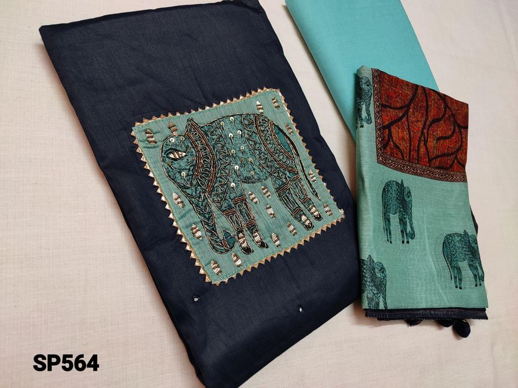 CODE SP564 : Navy Blue Satin Silk cotton unstitched Salwar material(lining Optional) with Digital yoke patch, bead, sequins, zardosi work , Gota taping around yoke patch, daman patch, Blue thin cotton bottom, Digital printed short width soft silk cotton dupatta