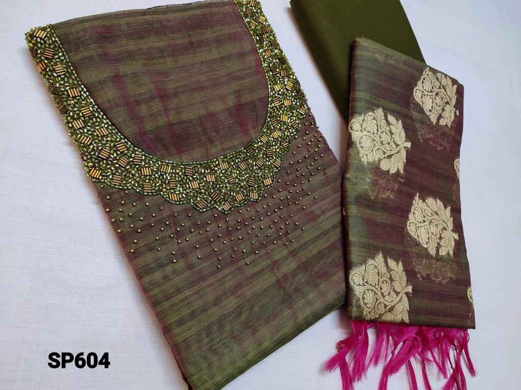 CODE SP604 : Designer Mossy Green Slub Silk Cotton unstitched Salwar material(requires lining) with heavy bead and pipe work on yoke, Cotton or Silk cotton bottom, Benarasi weaving Silk Cotton dupatta with taping( DUPATTA WEAVING DESIGN MAY BE DIFFERENT FROM WHATS SHOWN IN PICTURE)