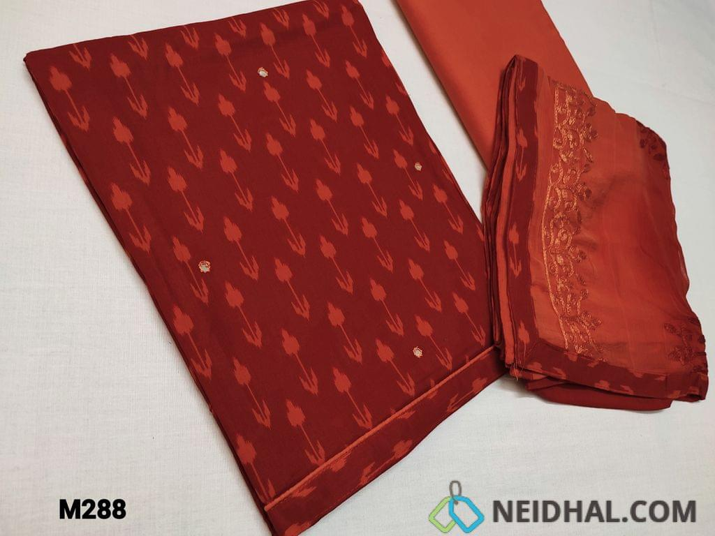 CODE M288 :  Maroonish Red Cambric cotton unstitched Salwar material with Faux mirror work on front side, daman piping, Orange cotton bottom, Dual shaded heavy embroidery work on chiffon dupatta with taping