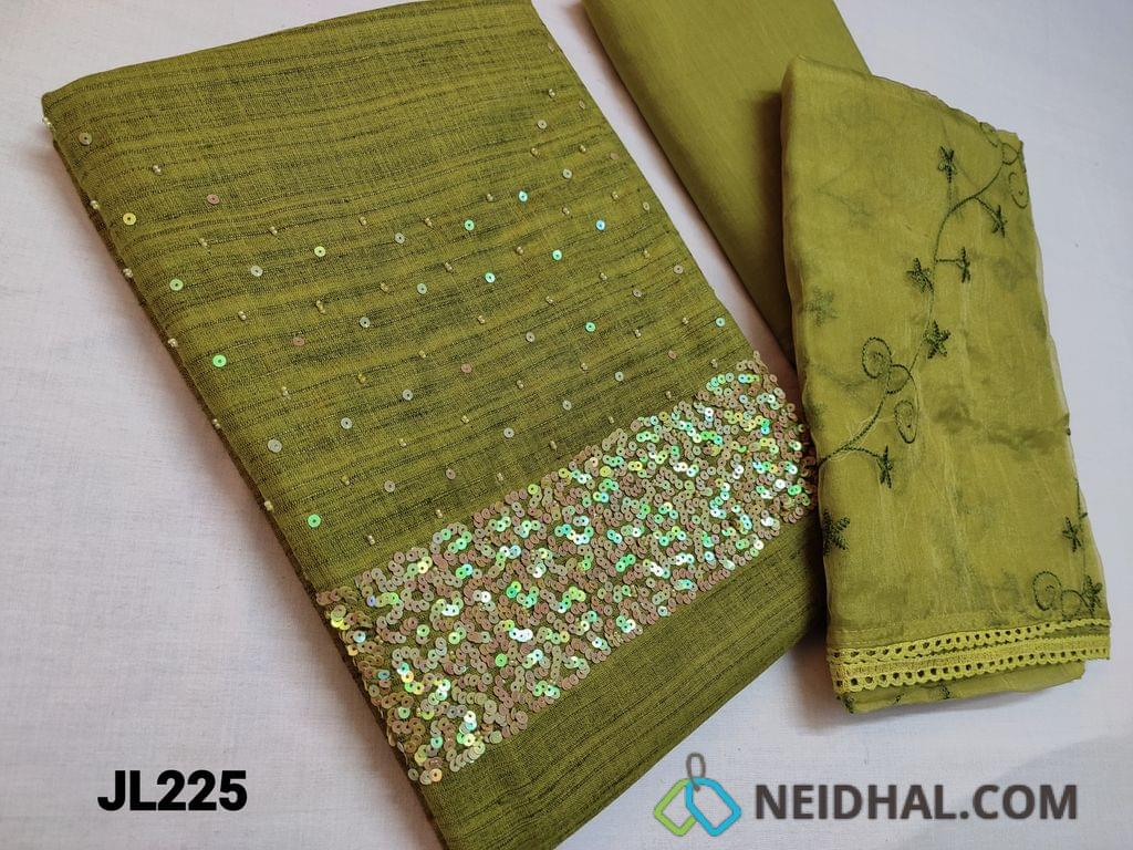 CODE JL225: Designer Green Jute Silk Cotton unstitched Salwar material(textured fabric requires lining) Heavy Sequins work on yoke, Thin Cotton fabric can be used as lining or if comfortable can be used as bottom, Organza dupatta with heavy embroidery work