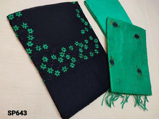 CODE SP643 : Designer Navy Blue Silk Cotton Unstitched Salwar material(Coarse fabric requires lining) with Heavy Bead and thread work on yoke, Turquoise Green Silk cotton bottom, Silk Cotton dupatta with Heavy thread work