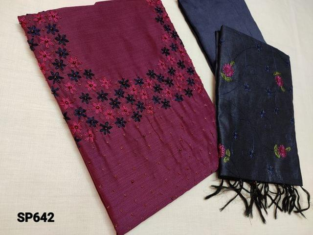 CODE SP642 : Designer Dark Purple Silk Cotton Unstitched Salwar material(Coarse fabric requires lining) with Heavy Bead and thread work on yoke, Navy Blue Silk cotton bottom, Silk Cotton dupatta with Heavy thread work