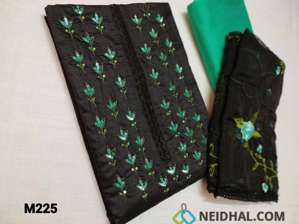 CODE M225 : Designer Black Silk Cotton unstitched Salwar material( shiny thin fabric, requires lining) with heavy thread and sequins work and lace work on yoke, Daman piping, Turquoise Green Silk cotton bottom, Black Organza dupatta(thin fabric) with heavy floral embroidery work and tapings