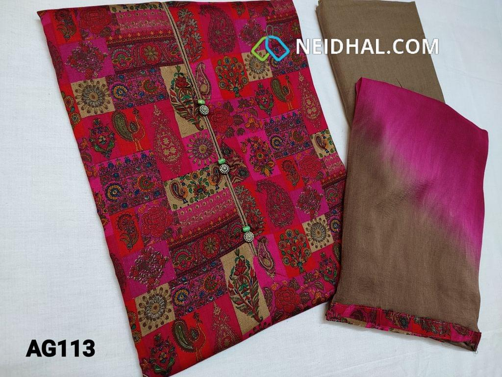 CODE AG113 : Pink Printed Glazed Cotton unstitched salwar material, with wooden and metal bead work on yoke, Dark beige cotton bottom, dual color chiffon dupatta with taping