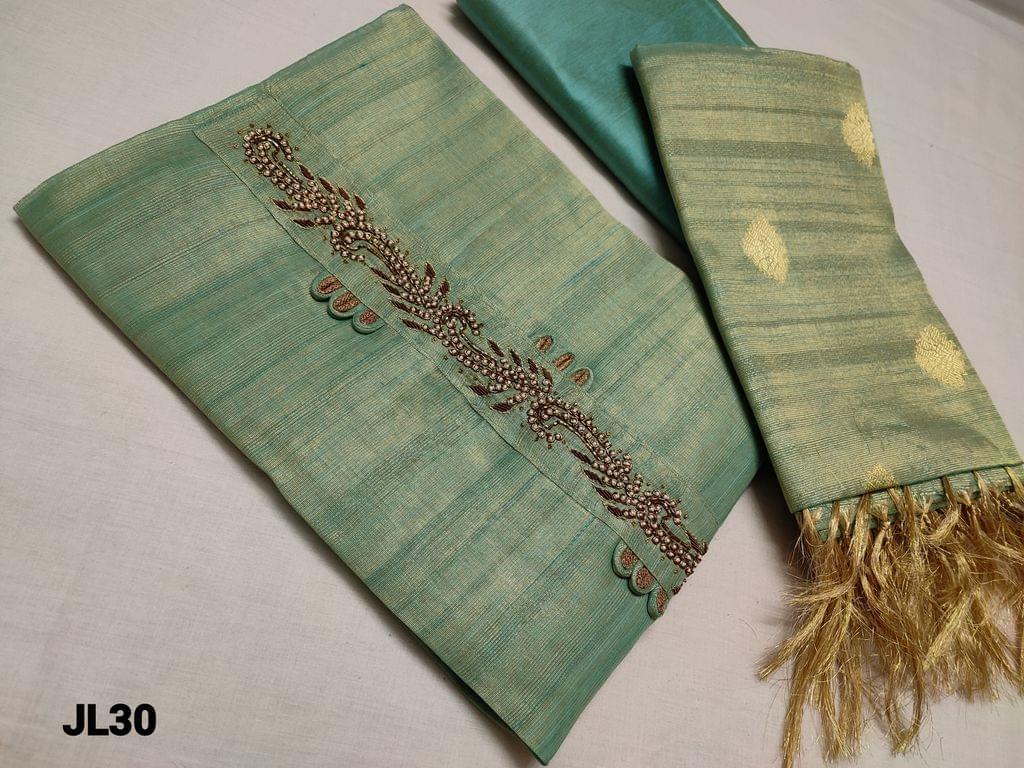 CODE JL30: Designer Pastel Green Tissue Silk Cotton unstitched Salwar material(Mix of Silk cotton and Golden tissue, Shiny fabric, requires lining)  Bead and zardosi work on yoke, silk Cotton bottom, Benarasi woven Tissue Silk cotton dupatta with tassels