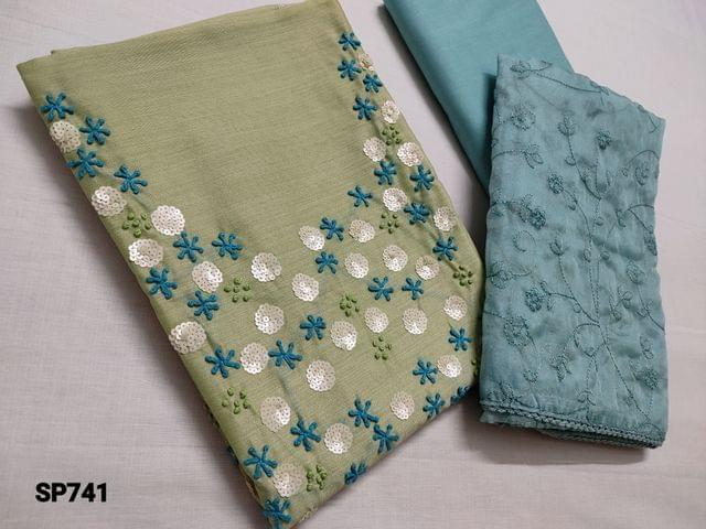 CODE SP741 :  Sober Green Fancy silk Cotton unstitched Salwar material(Coarse and thin fabric, requires lining) with Heavy thread and Sequins work on yoke, Faux mirror work on front side, Pale Blue Cotton bottom, Organza Dupatta with all over thread work and lace tapings.