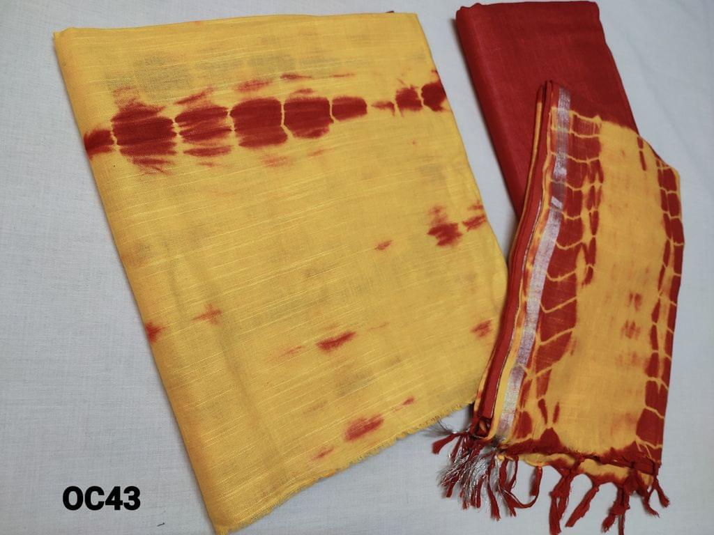 CODE OC43 : Original Shibori dyed Yellow Bhagalpuri silk cotton unstitched Salwar material(textured fabric requires lining), Brick Red Shibori Dyed Bhagalpuri silk cotton bottom, Original shibori dyed Bhagalpuri silk cotton dupatta with Silver zari taping and  tassels (Shiboris are hand made hence there will be stains and inconsistency in prints, these cannot be considered as damage)