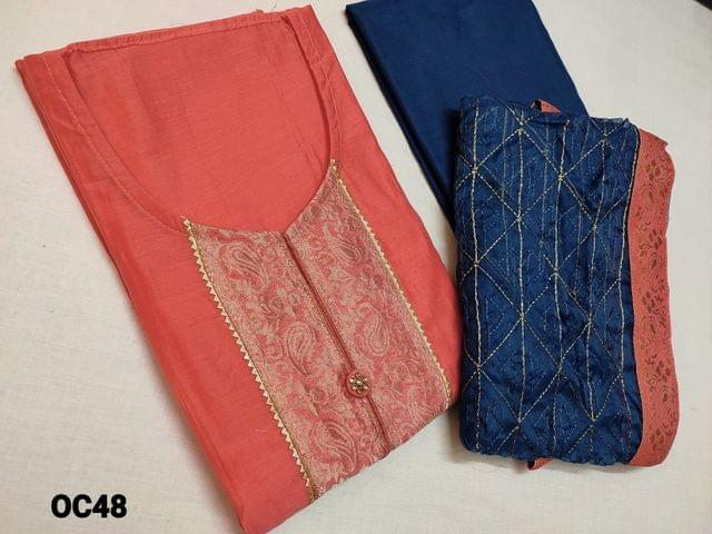 CODE OC48:  Designer Peachish Pink Silk Cotton Unstitched Salwar material(requires lining) with brocade and fancy buttons on yoke,  plain back side, neck stitch,daman patch, Blue cotton bottom, zari embroidery work on organza dupatta with tapings