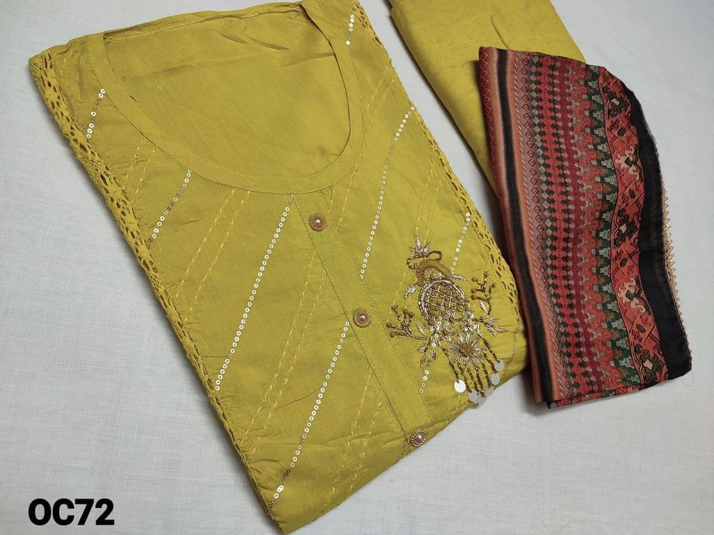 CODE OC72 : Designer Mehandi Yellow Masleen silk semi stitched Salwar material(thin and flowy fabric requires lining, CAN BE STITCHED UP TO XL SIZE) with Heavy work on yoke, crochet work on front side, Santoon bottom, Digital printed fancy soft silk short width dupatta with tapings