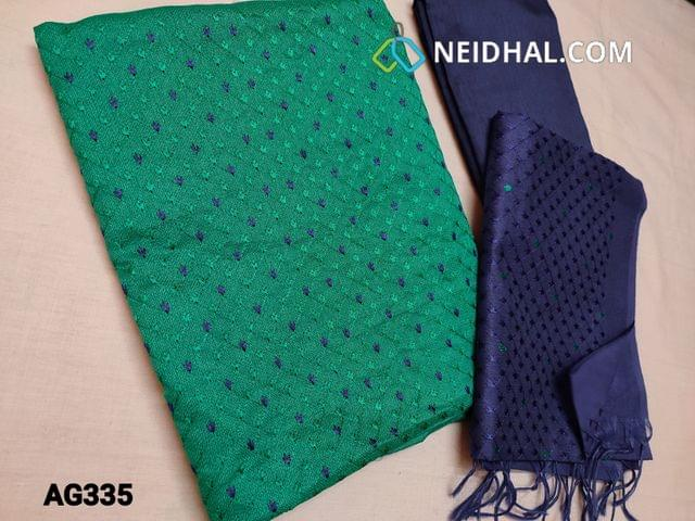 CODE AG335 : Turquoise Green Accord Fabric(Coarse and Netted fabric, requires lining) Unstitched Salwar material, with Heavy thread work on Yoke, Plain back, Royal Blue Silk cotton bottom, Silk cotton dupatta with  Heavy Embroidery work (Taping needs to be stitched)