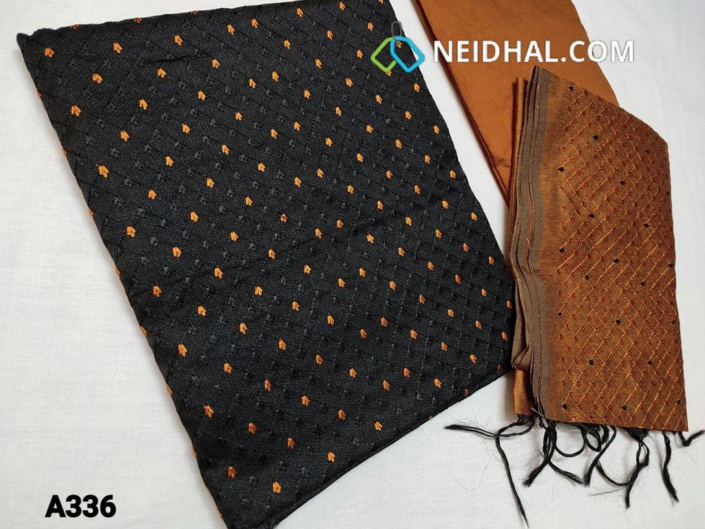 CODE AG335 : Black Accord Fabric(Coarse and Netted fabric, requires lining) Unstitched Salwar material, with Heavy thread work on Yoke, Plain back, Honey Brown Silk cotton bottom, Silk cotton dupatta with  Heavy Embroidery work (Taping needs to be stitched)