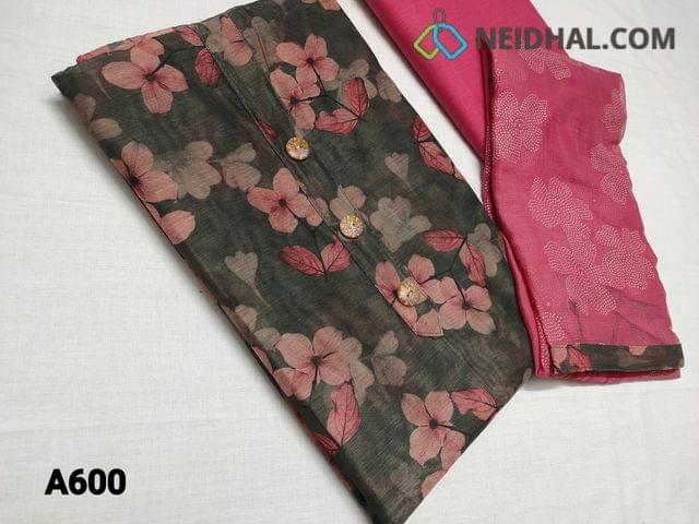 CODE A600 :  Premium Digital Printed Grey Silk Cotton UnStitched salwar material (requires lining) with buttons on yoke, Pink cotton bottom, Golden dew drops work on chiffon dupatta with tapings