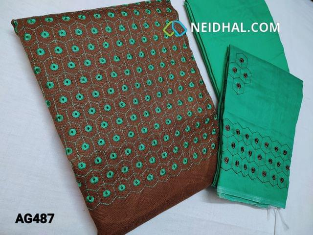 CODE AG487 : Light Brown woven Accord unstitched Salwar material(Netted Fabric, Coarse Fabric, Requires lining) with Embroidery and cut work on yoke, Turquoise Green Silk cotton bottom, Silk cotton dupatta with Heavy embroidery and cut work