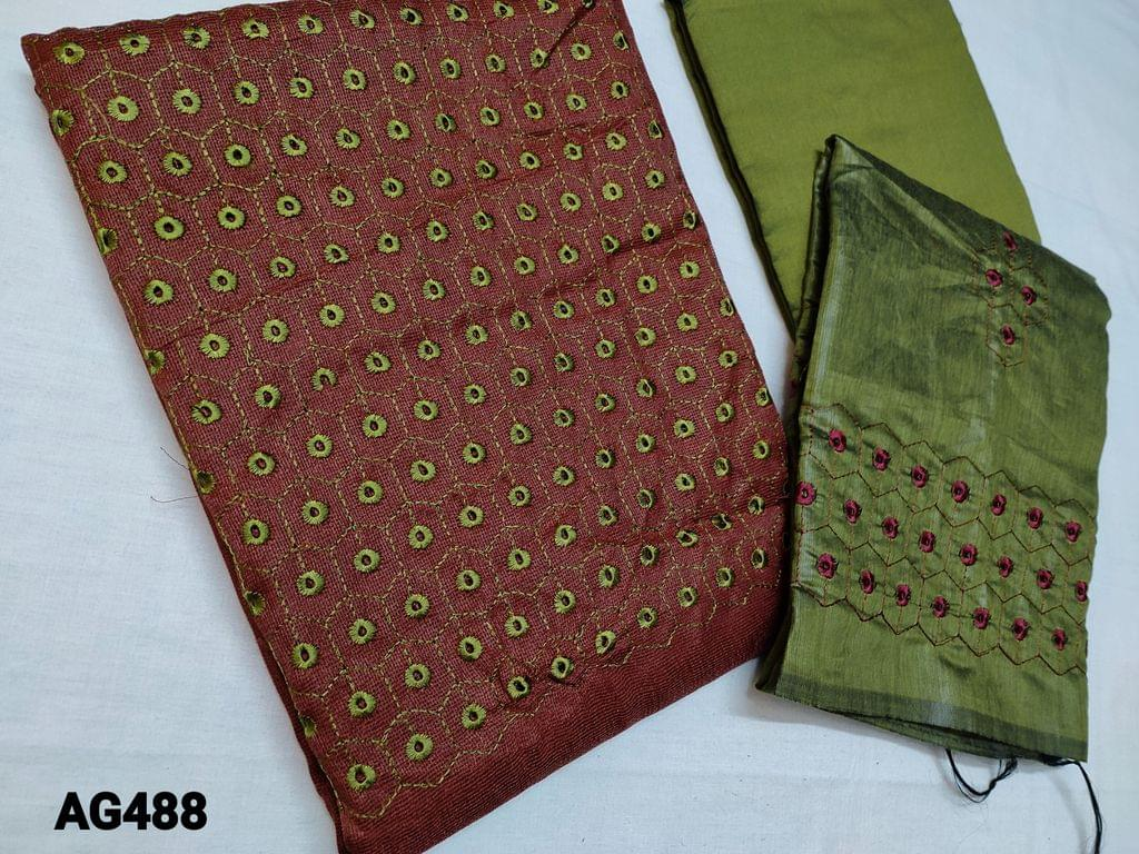 CODE AG488 : Brown woven Accord unstitched Salwar material(Netted Fabric, Coarse Fabric, Requires lining) with Embroidery and cut work on yoke, Mossy Green Silk cotton bottom, Silk cotton dupatta with Heavy embroidery and cut work