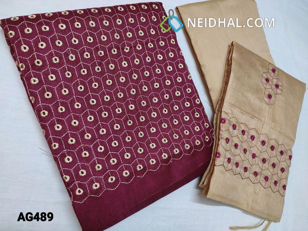 CODE AG489 : Dark Pink woven Accord unstitched Salwar material(Netted Fabric, Coarse Fabric, Requires lining) with Embroidery and cut work on yoke, Beige Silk cotton bottom, Silk cotton dupatta with Heavy embroidery and cut work