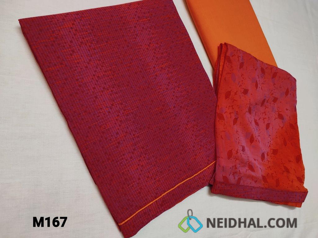 CODE M167 : Printed Pink Cambric Cotton unstitched Salwar material, with daman piping, Orange cotton bottom, printed Chiffon dupatta with taping