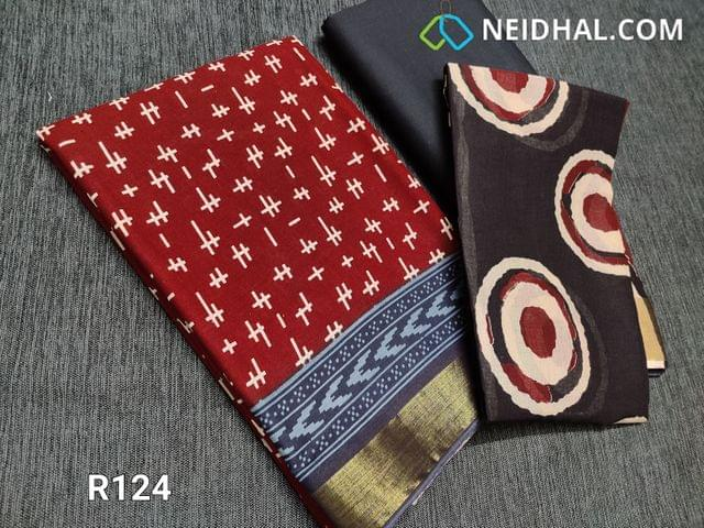 CODE R124 : Block Printed Red Cotton Unstitched salwar material(there might be variations in print alignment, density due to manual work) , daman patch,  Black Cotton Bottom, Block printed (there might be variations in print alignment, density due to manual work) cotton dupatta.(requires taping)