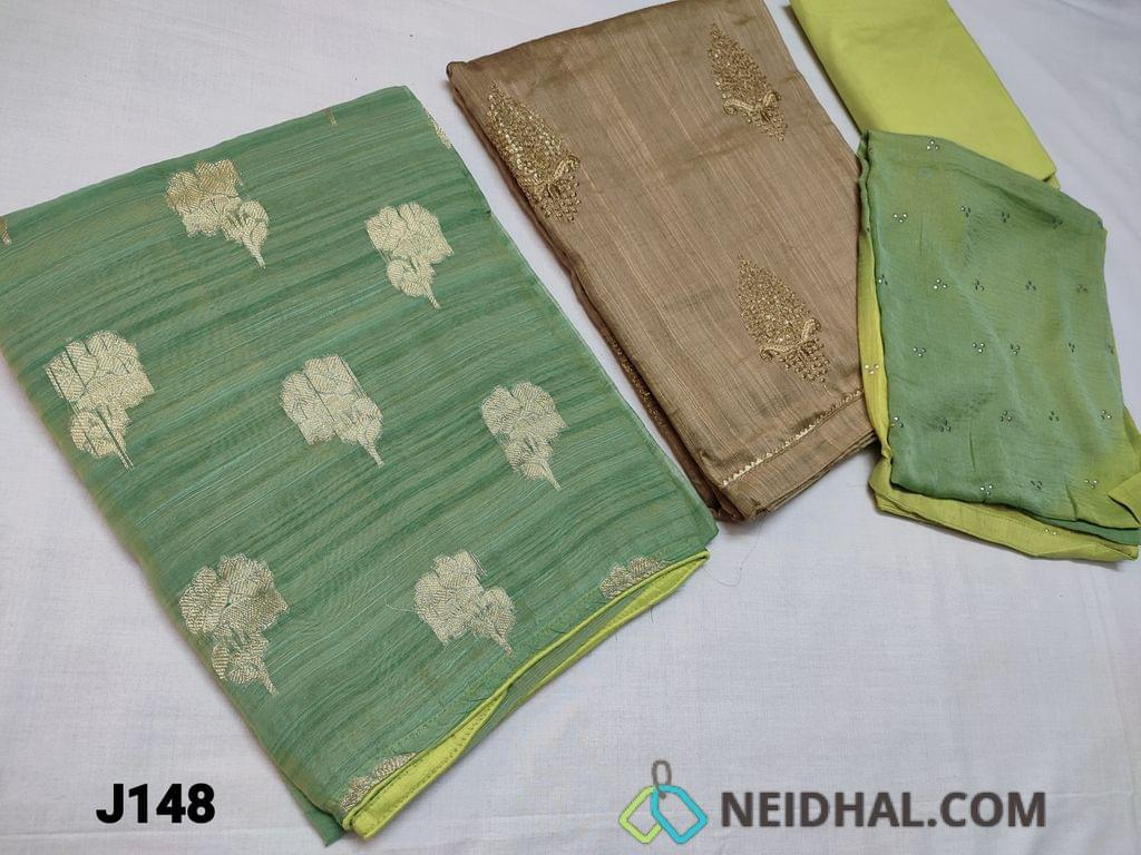 CODE J148 : TWO TOPS, Top 1: Pastel Green Slub Silk cotton unstitched top(thin fabric requires lining) with zari thread weaving on front side plain back, Top 2: Sillver Greyish Silk cotton unstitched Salwar material with sequins and zari thread embroidery pattern work on front side, plain back, daman patch, Green silk cotton bottom, Dual color chiffon dupatta with dew drops work and taping