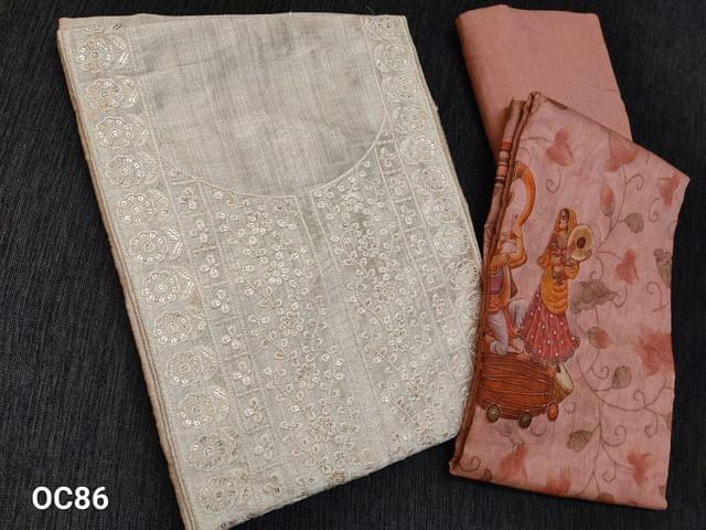 CODE OC86 : Premium Biege Semi Raw Silk unstitched salwar material(shiny fabric requires lining) with heavy embroidery work on yoke, Embroidery work on front side, sequins work on front side, plain back side, Sober Peach soft and think cotton bottom, Digital printed Sober Peach silk cotton dupatta with tassels